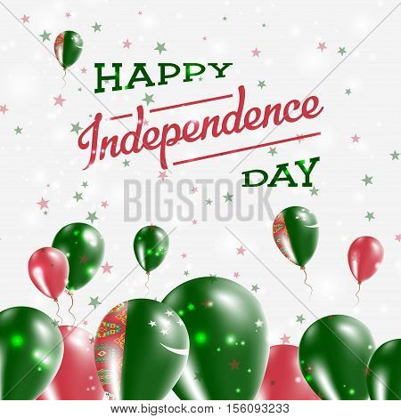 Turkmenistan Independence Day Patriotic Design. Balloons In National Colors Of The Country. Happy In