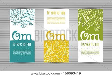 Om mantra lettering with floral pattern long flyer. Yoga and meditation studio long flyer or trifold templates.
