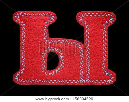 Letter of the alphabet made of red felt isolated on black background. Cyrillic Russian alphabet set. Font for children with educational pictures
