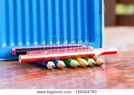 crayon:a pencil or stick of colored chalk or wax used for drawing.