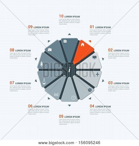 Vector Infographic Template With Decagon 10 Options