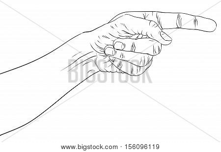Finger pointing hand detailed black and white lines vector illustration hand sign hand drawn.