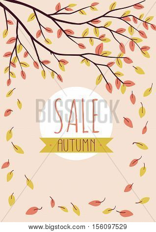 Autumn background with leaves and branch. Peachy vertical sale poster. Sale banner.