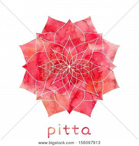 Pitta dosha abstract symbol with watercolor texture. Ayurvedic body type