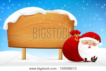 Christmas santa claus sleeping in front of big blank wooden sign with copy space vector illustration eps 10
