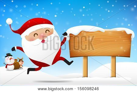 Christmas santa claus snowman and reindeer cartoon smile in front of big blank wooden sign with copy space vector illustration eps 10
