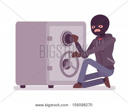 Safecracker cracking a safe ineffectually manipulating the lock to get the right combination open the safe. Cartoon vector flat-style concept illustration