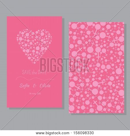 Perfect card templates with cute pink hart and  gay symbols. Lesbian couple card  for wedding invitations, Valentine's day.