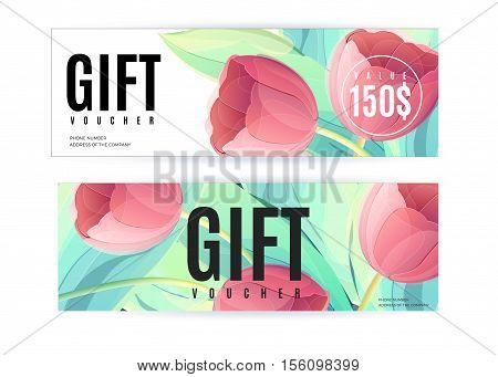 Vector gift voucher template with tulip flowers. Business floral card. Abstract background. Concept for boutique jewelry floral shop beauty salon spa fashion flyer banner design