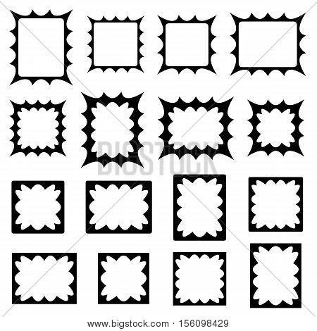 Black abstract curved spiky shape frame design set