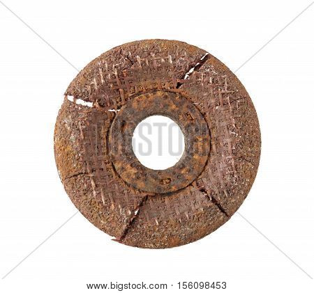 Rusty Grinding Disc isolated on white Background clipping path