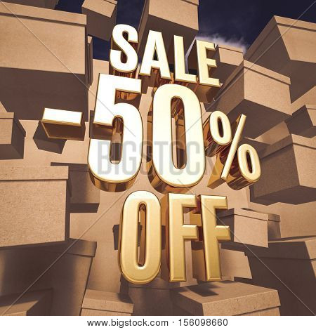 3d render: Gold 50 Percent Off Discount 3d Sign with Boxes, Special Offer 50% Discount Tag, Sticker