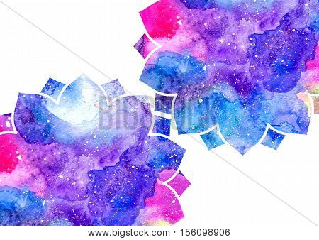 Watercolor blue purple and pink abstract flowers and white frame. Fairytale colorful background