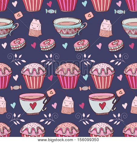 Tea seamless doodle teatime backdrop. Tea time elements in pink and blue color to use it as pattern fills, web page background, surface textures, fabric or paper, backdrop design. Cakes and teacup template.