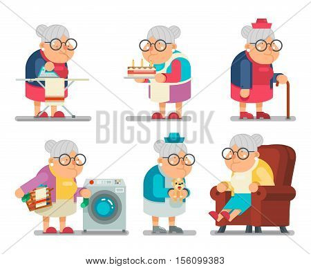 Household Granny Old Lady Character Cartoon Flat Vector illustration