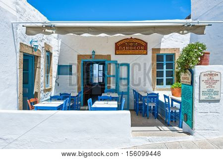 Patmos Greece - May 16 2010: A traditional tavern in the Chora village