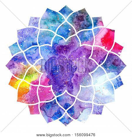 Chakra Sahasrara icon ayurvedic symbol concept of Hinduism Buddhism. Watercolor cosmic texture. Isolated on white background