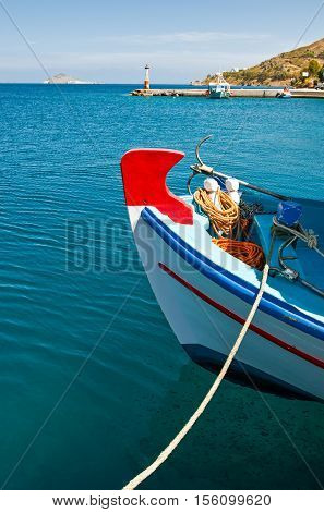 Greece DodecanesePatmos a boat in the harbor of the Skala village