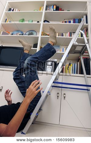 accident at home: man has falling from ladder