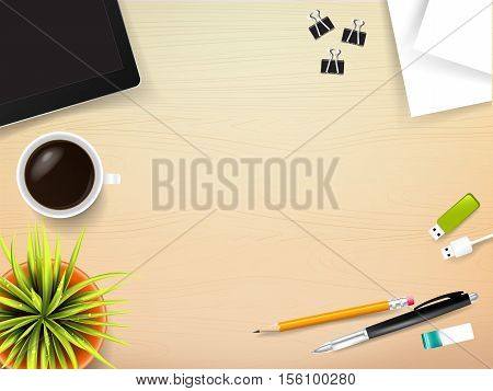 Top view of stationary pen pencil eraser tablet paper clip coffee cup with copy space on wooden background vector illustration eps 10