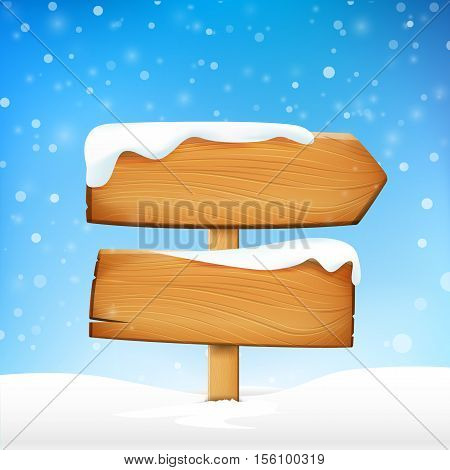 Wooden sign blank board and winter snow with copy space vector illustration eps 10