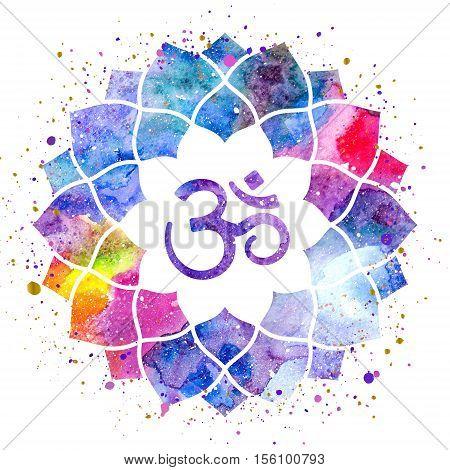 Om sign in lotus flower. Rainbow watercolor texture and splash isolated. Spiritual Buddhist Hindu symbol