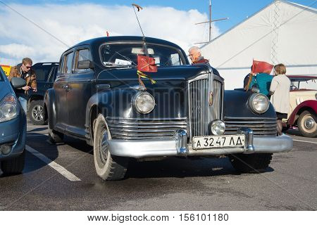 KRONSTADT, RUSSIA - SEPTEMBER 04, 2016: The first Soviet post-war car of the representative class ZIS-110 participates in an exhibition of retrocars