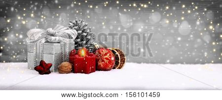 Christmas decoration isolated on gray background.Christmas background with red advent candle.