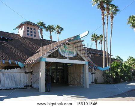 PHOENIX, AZ - DECEMBER 23, 2013: Farm styled entrance to Wildlife World Zoo and Aquarium located in Litchfield Park west of Phoenix, AZ