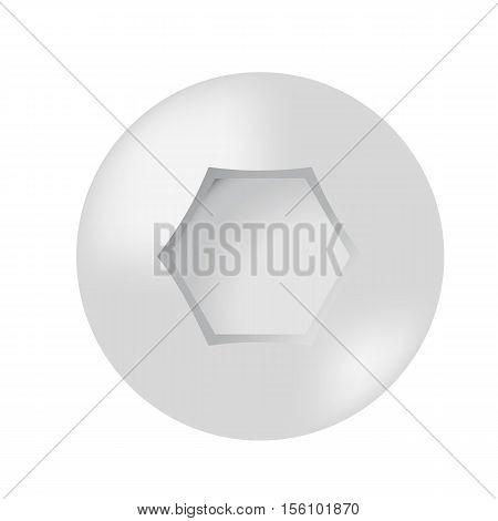 Vector illustration. Cap screws with hexagon convex matt.