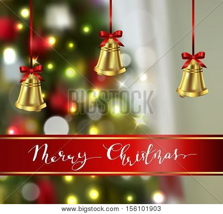 Background with Christmas gold bells on blured Christmas tree background greeting card vector
