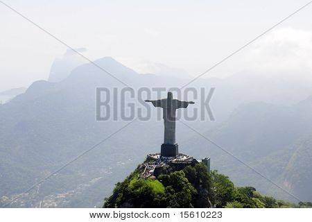 Aerial view of Christ Redeemer/ Corcovado Mountain in Rio de Janeiro