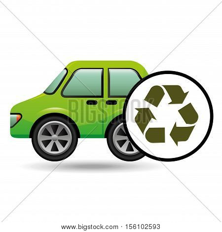 eco car icon environment recycle symbol vector illustration eps 10