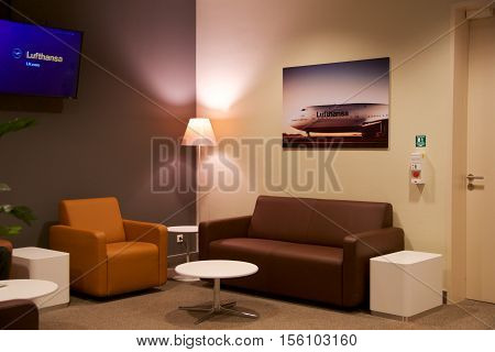 LEIPZIG, GERMANY - OCTOBER 14, 2016: airport interior, airport senator lounge with leather sofa