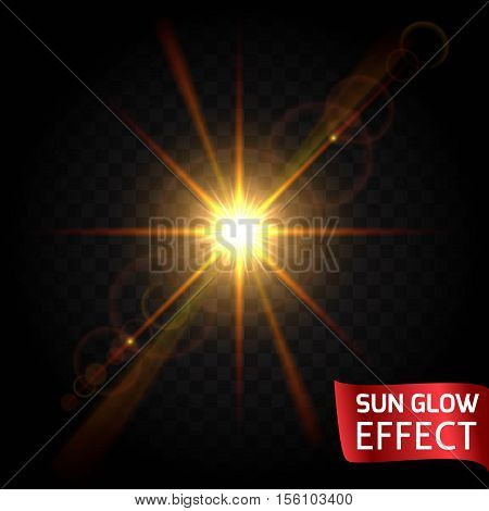 Sun glow effect set on a dark background transparent. Sunrise sunset the rays of glare glow. Bright flowing scattering light. Vector illustration.