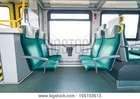 interior of a modern suburban train. chair