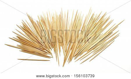 Toothpicks from bamboo is natural equipment isolate background white color.
