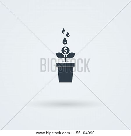 Flat vector icon with money tree. Cash investments, econimy growth.