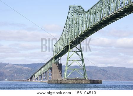 Astoria-Megler Bridge that spans six and half kilometers over Columbia River (Oregon).