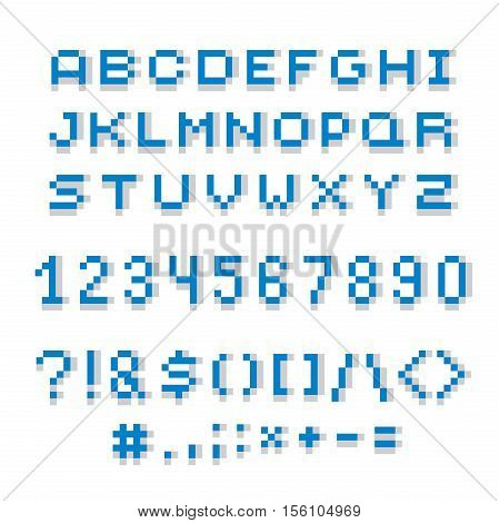 Cybernetic 3d numbers letters and punctuation marks pixel art vector numeration. Pixel design elements contemporary digital typescript made in technology style.