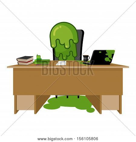 Booger Boss. Snot Director Sitting At Table. Nasty Green Slime In Workplace. Snivel Behind Job Desk.