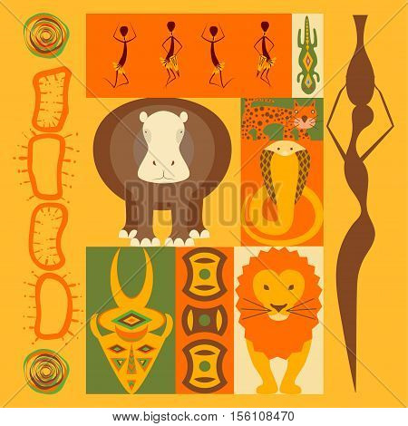 Vector set of African animals elements and icons in modern fla design. eps10 vector. Perfect promotional flyer, booklets and articles.