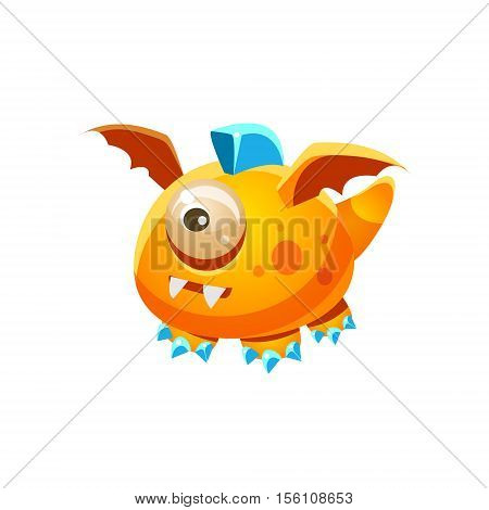 Orange Fantastic Friendly Pet Dragon With One Eye Fantasy Imaginary Monster Collection. Colorful Imaginary Dragon Like Alien Creature From Another Planet.