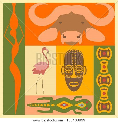 Set of African people, animals and simbol elements and icons in modern fla design. Perfect promotional flyer, booklets and articles. Vector illustration eps10
