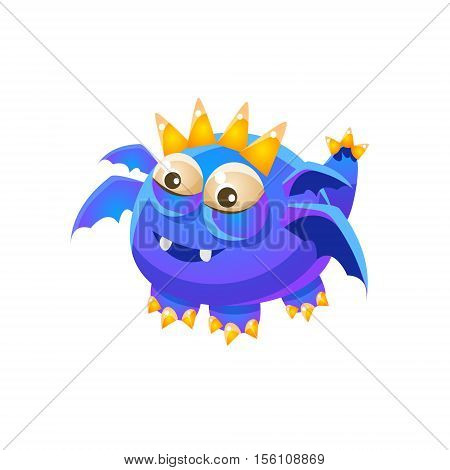 Blue Fantastic Friendly Pet Dragon With Four Wings Fantasy Imaginary Monster Collection. Colorful Imaginary Dragon Like Alien Creature From Another Planet.