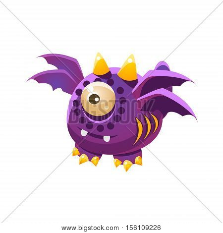 Purple Fantastic Friendly Pet Dragon With Four Wings Fantasy Imaginary Monster Collection. Colorful Imaginary Dragon Like Alien Creature From Another Planet.