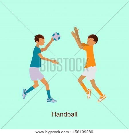 Sport people activities icon Handball isolated. 2016 Summer Games in modern flat design. Sporting Championship International Competition. Vector Illustration eps10