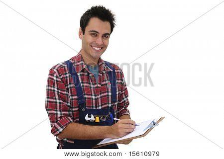 feliz técnico o artesanos tomando notas