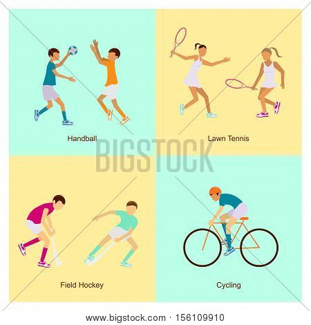 Sport people activities icons set handball, lawn tennis, field hockey, cycling, isolated vector eps10