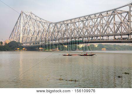 Historic Howrah bridge on river Ganges at Kolkata - the longest cantilever bridge in India.